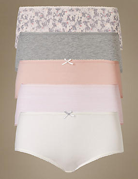 5 Pack Cotton Rich Midi Knickers, PEACH MIX, catlanding