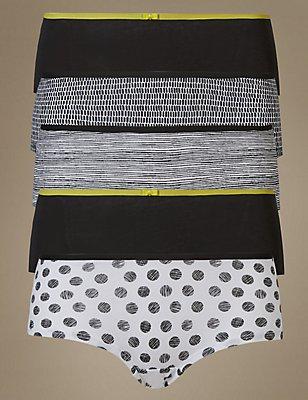 5 Pack Cotton Rich Low Rise Shorts, BLACK MIX, catlanding