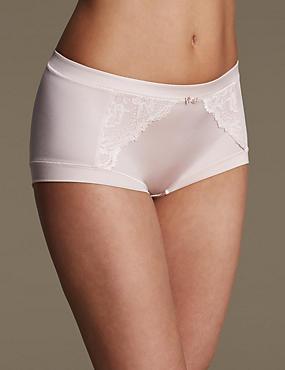 Sensual Sheen & Lace High Rise Shorts , ALMOND, catlanding
