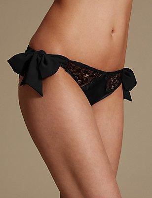 Tie Side Lace Brazilian Knickers, BLACK, catlanding