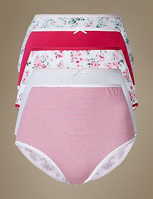 5 Pack Pure Cotton Full Briefs, PINK MIX, catlanding