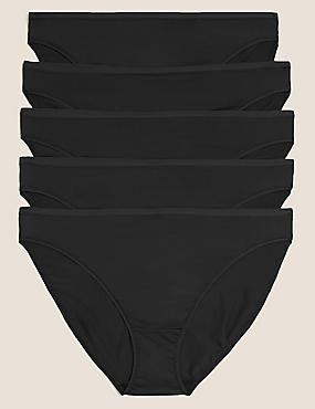 5 Pack No VPL Microfibre High Leg Knickers, BLACK, catlanding