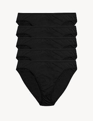 5 Pack No VPL Microfibre High Leg Knickers, BLACK, catlanding
