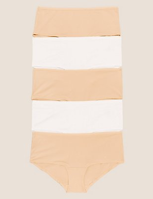 5 Pack No VPL Microfibre Low Rise Shorts, NUDE MIX, catlanding
