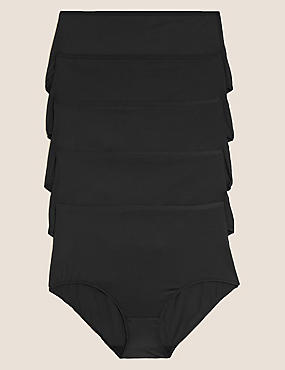 5 Pack No VPL Microfibre High Rise Full Briefs, BLACK, catlanding