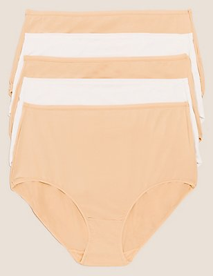5 Pack No VPL Microfibre High Rise Full Briefs, NUDE MIX, catlanding
