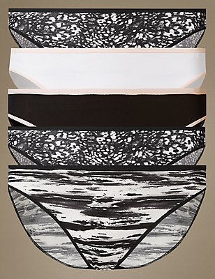 5 Pack No VPL Printed High Leg Knickers, BLACK MIX, catlanding