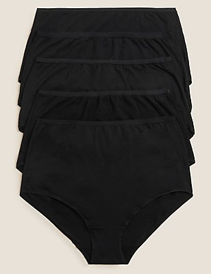 5 Pack Supima® Cotton & Modal No VPL Full Briefs, BLACK, catlanding