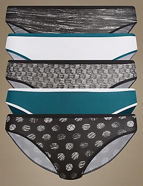 Lot de 5culottes bikini en microfibre sans coutures apparentes, NOIR ASSORTI, catlanding