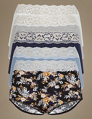 5 Pack Cotton Rich Full Brief Knickers, BLUE MIX, catlanding