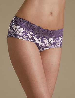 5 Pack Cotton Rich Lace Waist Low Rise Shorts with New & Improved Fabric, PINK MIX, catlanding