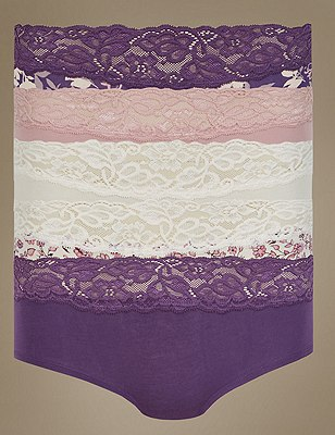 5 Pack Cotton Rich Lace Waist Low Rise Shorts with New & Improved Fabric, PURPLE MIX, catlanding