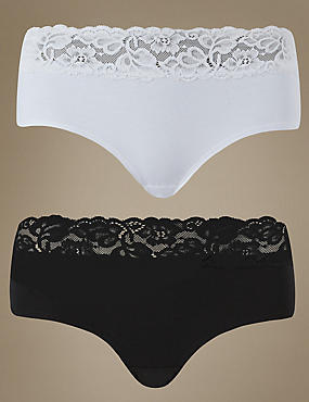 5 Pack Cotton Rich Lace Waist Low Rise Shorts with New & Improved Fabric, BLACK/WHITE, catlanding