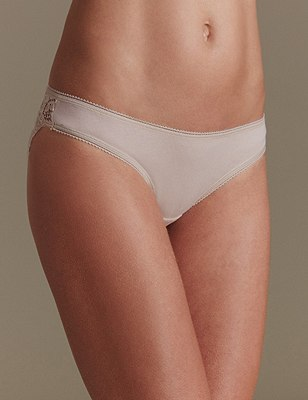 5 Pack Lace Low Rise Brazilian Knickers with New & Improved Fabric, ALMOND MIX, catlanding