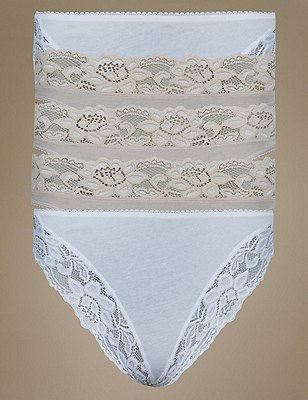 5 Pack Lace Low Rise Brazilian Knickers with New & Improved Fabric, NUDE MIX, catlanding