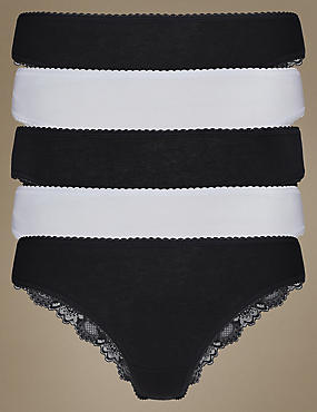 5 Pack Lace Low Rise Brazilian Knickers with New & Improved Fabric, BLACK/WHITE, catlanding