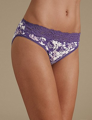 5 Pack Cotton Rich Lace Waist High Leg Knickers with New & Improved Fabric, PURPLE MIX, catlanding