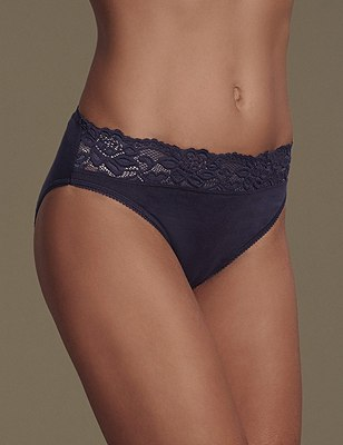 5 Pack Cotton Rich Lace Waist High Leg Knickers with New & Improved Fabric, BLUE MIX, catlanding