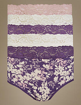 5 Pack Lace Waist High Rise Full Briefs, PURPLE MIX, catlanding