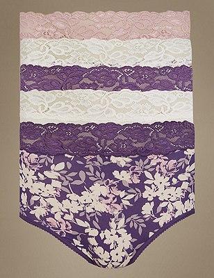 5 Pack Lace Waist High Rise Full Briefs, PURPLE MIX, catlanding