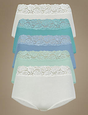 5 Pack Lace Waist High Rise Full Briefs, SPEARMINT, catlanding