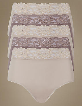 5 Pack Lace Waist High Rise Full Briefs, ALMOND MIX, catlanding