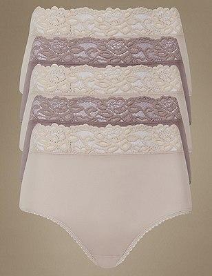 5 Pack Lace Waist High Rise Full Briefs, ALMOND MIX, catlanding