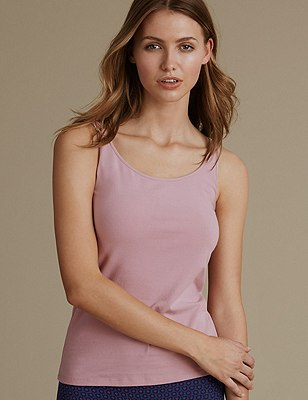 Cotton Rich Built Up Shoulder Vest with New & Improved Fabric, SOFT PINK, catlanding