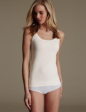 Cotton Rich Built Up Shoulder Vest with New & Improved Fabric, LIGHT CREAM, catlanding