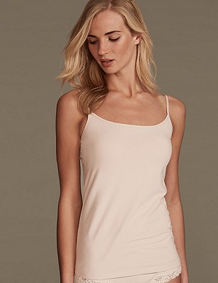 Soft Touch Cotton Rich Strappy Neck Vest with New & Improved Fabric, ALMOND, catlanding