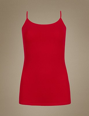 Soft Touch Cotton Rich Strappy Neck Vest with New & Improved Fabric, RED, catlanding