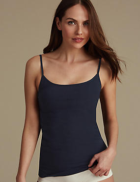Cotton Rich Strappy Vest , DARK NAVY, catlanding