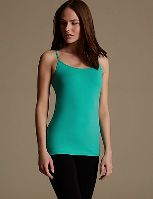Soft Touch Cotton Rich Strappy Neck Vest with New & Improved Fabric, RICH AQUA, catlanding