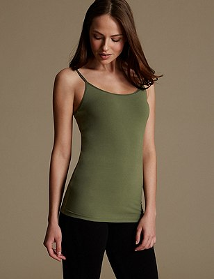 Soft Touch Cotton Rich Strappy Neck Vest with New & Improved Fabric, DARK SAGE, catlanding