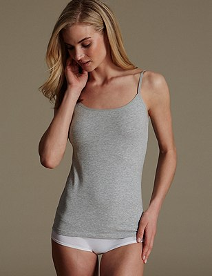 Soft Touch Cotton Rich Strappy Neck Vest with New & Improved Fabric, GREY MARL, catlanding