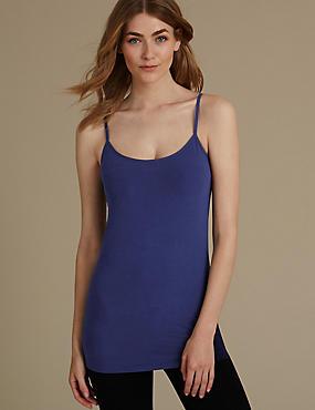 Cotton Rich Longline Strappy Vest Top, INDIGO, catlanding