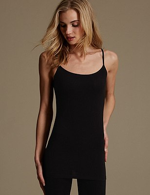 Cotton Rich Longline Strappy Vest Top, BLACK, catlanding