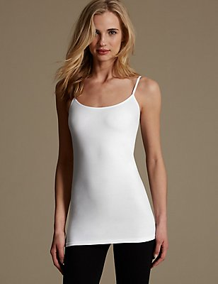 Cotton Rich Longline Strappy Vest Top, WHITE, catlanding