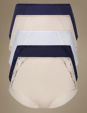 5 Pack Cotton Rich Flora Embroidery Full Briefs, INDIGO MIX, catlanding