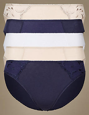 5 Pack Floral Embroidered High Leg Knickers, INDIGO MIX, catlanding