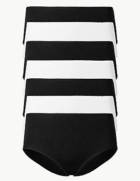 7 Pack Cotton Rich Midi Knickers , BLACK/WHITE, catlanding