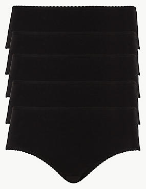 5 Pack Cotton Rich Midi Knickers with New & Improved Fabric, BLACK, catlanding