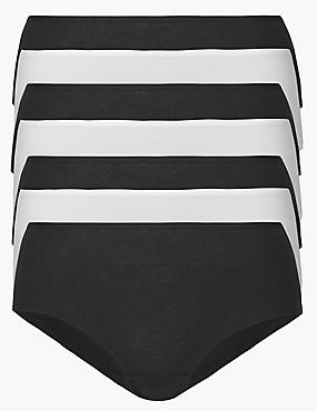 7 Pack Cotton Rich Low Rise Shorts, BLACK/WHITE, catlanding