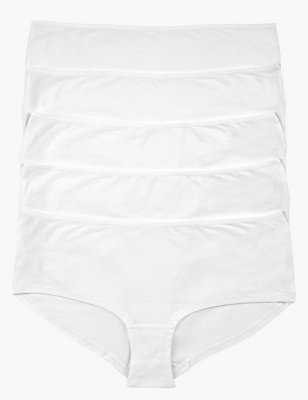5 Pack Cotton Rich Low Rise Shorts with New & Improved Fabric, WHITE, catlanding