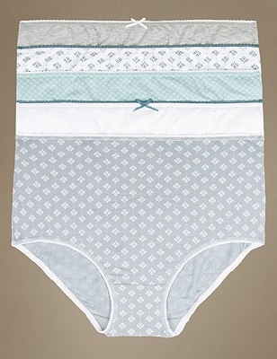 5 Pack Cotton Rich Assorted Full Briefs with New & Improved Fabric, GREEN MIX, catlanding