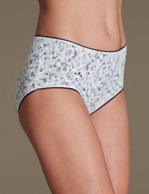 Хлопковые трусики-миди StayNEW™ с монохромным дизайном (5 шт) M&S Collection T614968