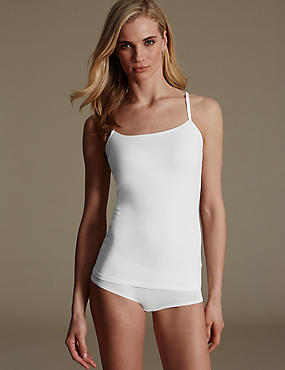 Camiseta Secret Support™ de algodón con tirantes con ribete de satén para copa DD-G, BLANCO, catlanding