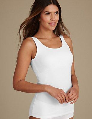 Secret Support™ Cotton Rich Vest, WHITE, catlanding