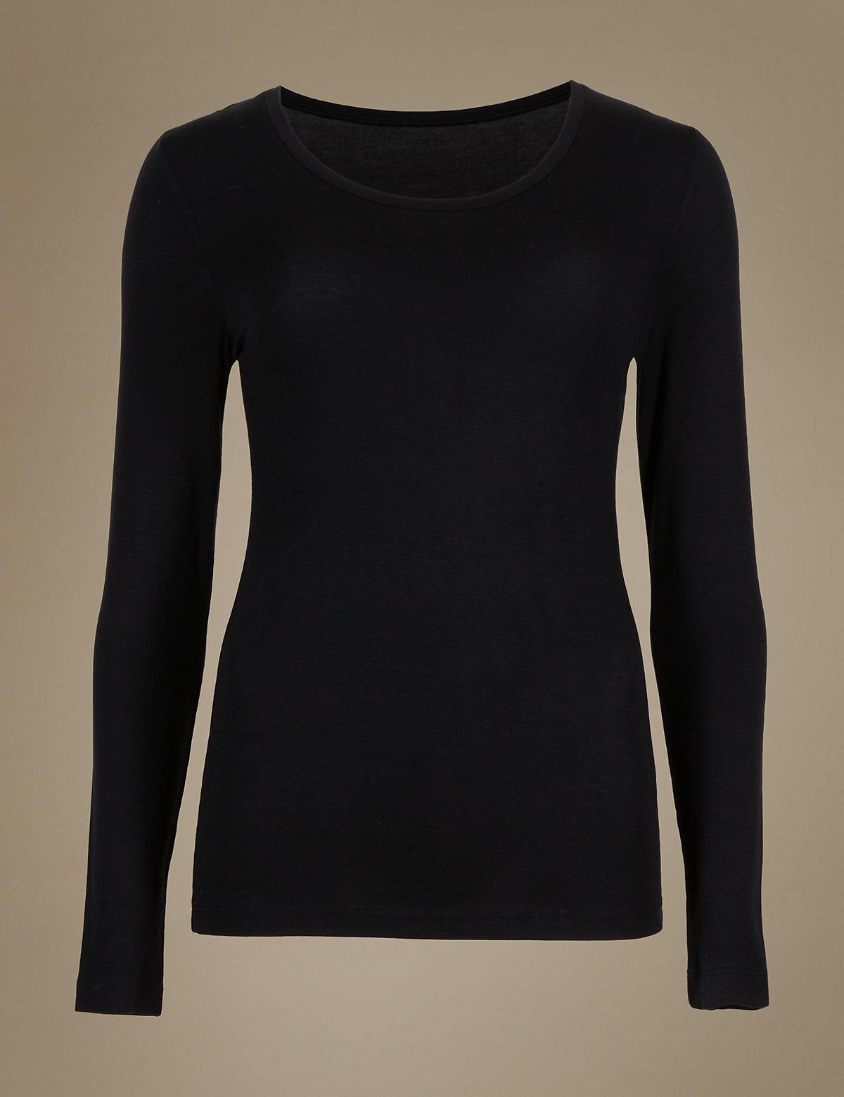 M S Woman Heatgen Thermal Long Sleeve Black T Shirt 2