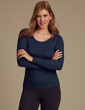 2 Pack Thermal Long Sleeve Pointelle Tops, NAVY MIX, catlanding
